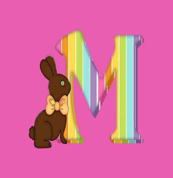 Digital Art - Letter M Chocolate Easter Bunny by Debra Miller