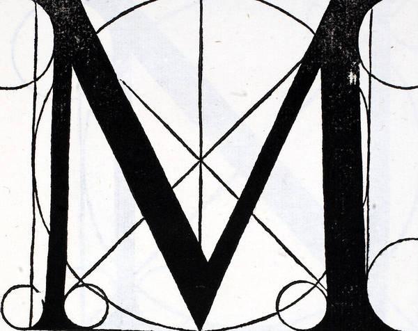 Wall Art - Drawing - Letter M by Leonardo Da Vinci