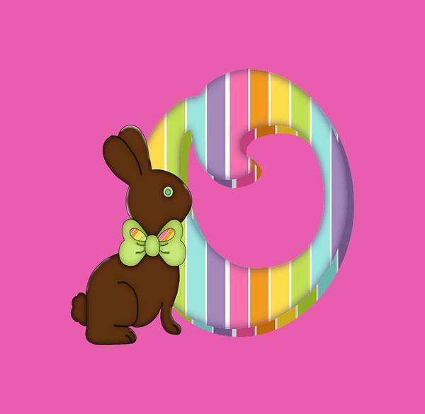 Digital Art - Letter O Chocolate Easter Bunny by Debra Miller