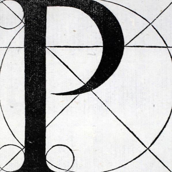 Decorative Drawing - Letter P by Leonardo Da Vinci