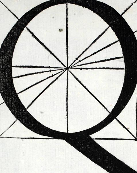 Decorative Drawing - Letter Q by Leonardo Da Vinci