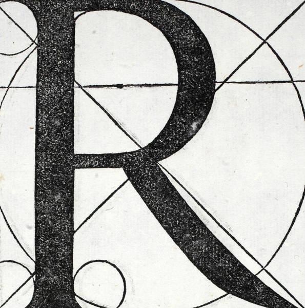 Decorative Drawing - Letter R by Leonardo Da Vinci