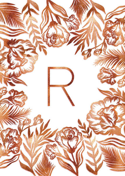 Digital Art - Letter R - Rose Gold Glitter Flowers by Ekaterina
