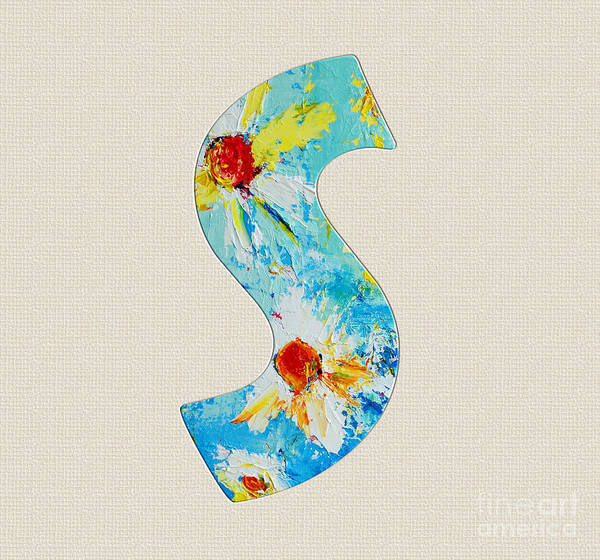 Typo Painting - Letter S Roman Alphabet - A Floral Expression, Typography Art by Patricia Awapara