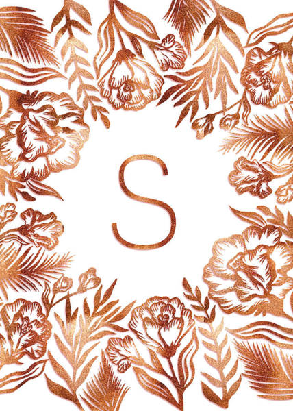 Digital Art - Letter S - Rose Gold Glitter Flowers by Ekaterina