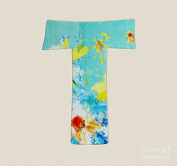 Typo Painting - Letter T Roman Alphabet - A Floral Expression, Typography Art by Patricia Awapara