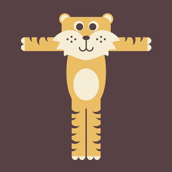 Digital Art - Letter T - Animal Alphabet - Tiger Monogram by Jen Montgomery