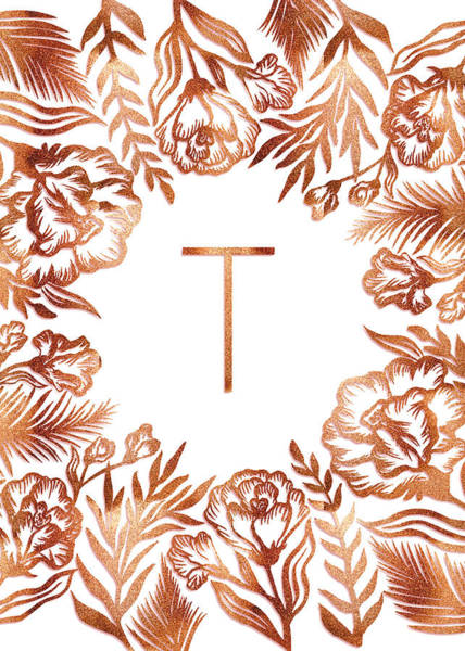 Digital Art - Letter T - Rose Gold Glitter Flowers by Ekaterina