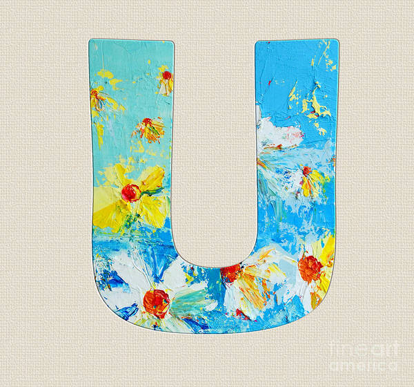 Typo Painting - Letter U Roman Alphabet - A Floral Expression, Typography Art by Patricia Awapara
