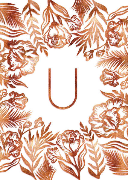 Digital Art - Letter U - Rose Gold Glitter Flowers by Ekaterina