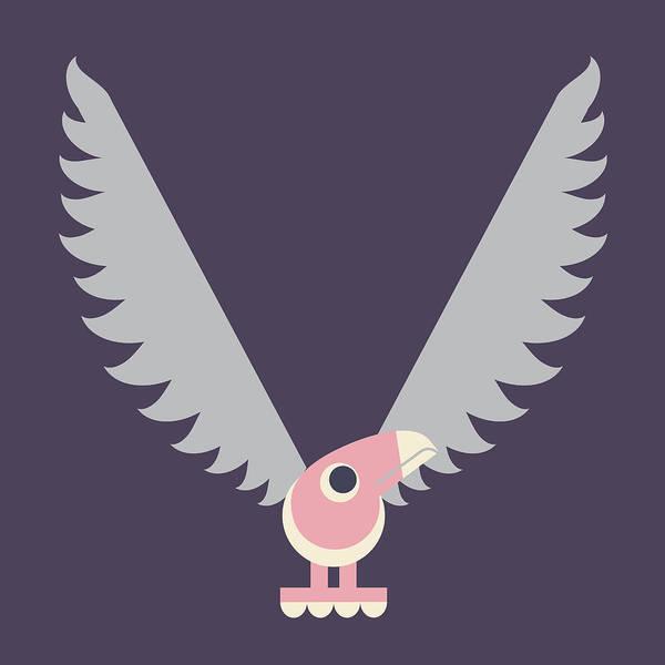 Digital Art - Letter V - Animal Alphabet - Vulture Monogram by Jen Montgomery