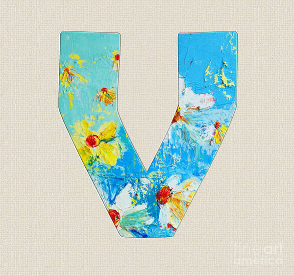 Typo Painting - Letter V Roman Alphabet - A Floral Expression, Typography Art by Patricia Awapara