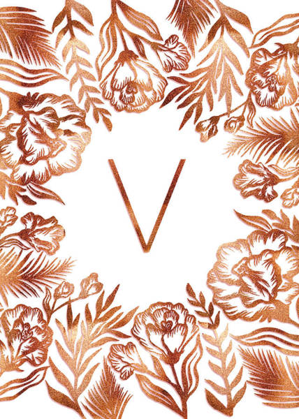 Digital Art - Letter V - Rose Gold Glitter Flowers by Ekaterina