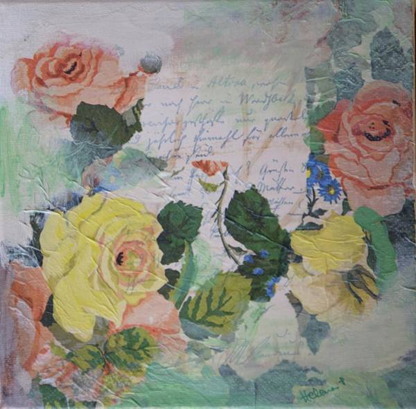 Love Letter Mixed Media - Letter With Roses by HelenaP Art