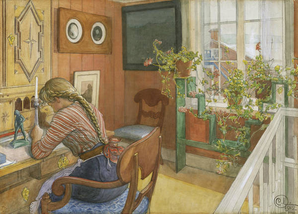 Painting - Letter-writing by Carl Larsson
