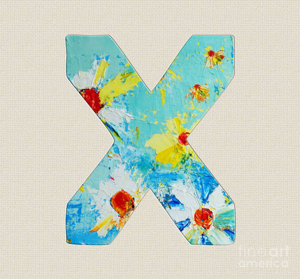 Painting - Letter X Roman Alphabet - A Floral Expression, Typography Art by Patricia Awapara