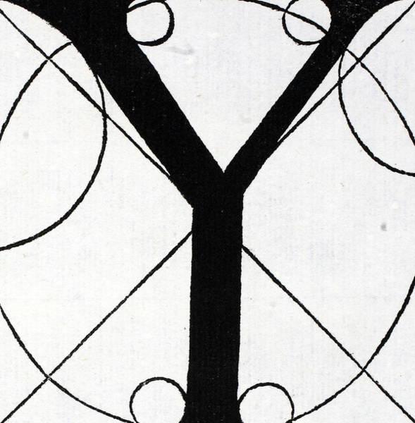 Decorative Drawing - Letter Y by Leonardo Da Vinci
