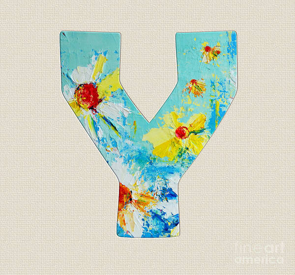 Typo Painting - Letter Y Roman Alphabet - A Floral Expression, Typography Art by Patricia Awapara