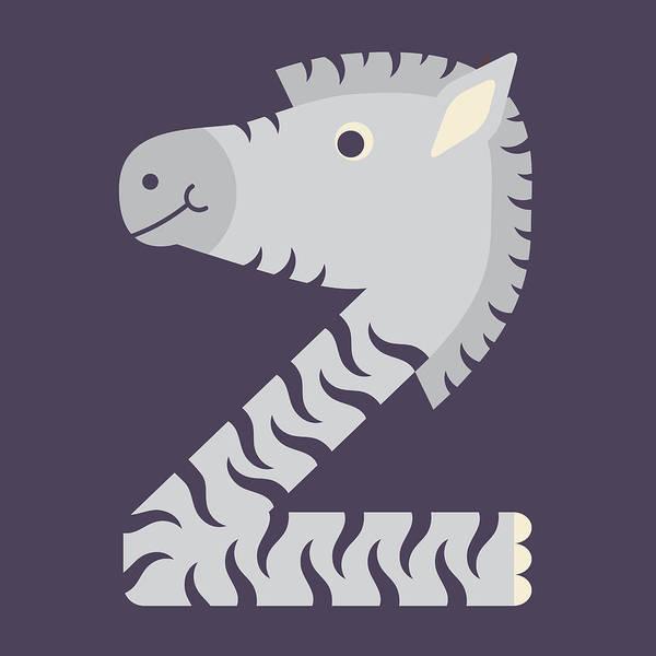 Digital Art - Letter Z - Animal Alphabet - Zebra Monogram by Jen Montgomery