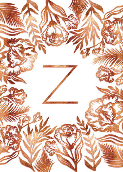 Digital Art - Letter Z - Faux Rose Gold Glitter Flowers by Ekaterina