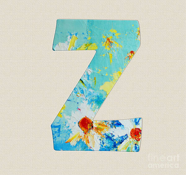 Typo Painting - Letter Z Roman Alphabet - A Floral Expression, Typography Art by Patricia Awapara