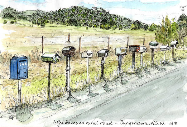 New South Wales Drawing - Letterboxes by Anne Huth