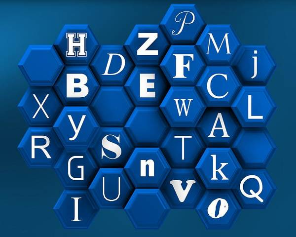 Digital Art - Letters Over Blue Hexagons by Alberto RuiZ
