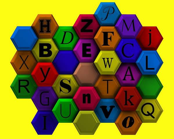 Digital Art - Letters Over Colorist Hexagons by Alberto RuiZ