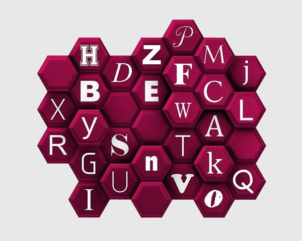 Digital Art - Letters Over Violet Honeycomb by Alberto RuiZ