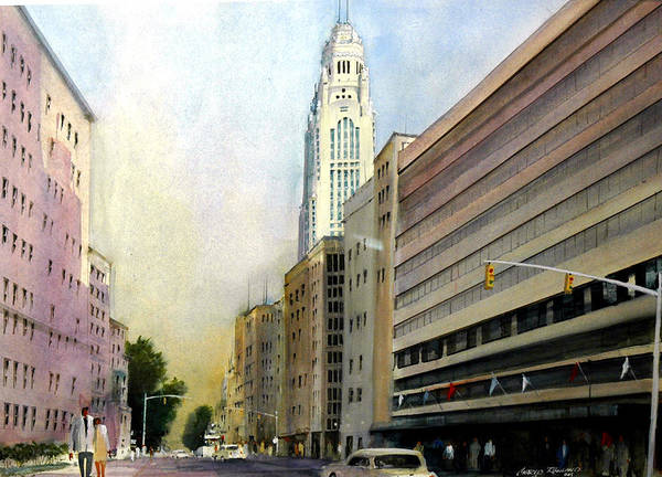 Painting - Leveque Tower. Columbus, Ohio by Charles Rowland