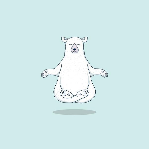 Hippy Digital Art - Levitating Meditating Polar Bear by Laura Ostrowski