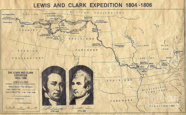 Lewis And Clark Expedition Map Art Print