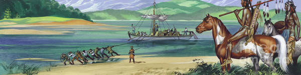 Pulling Painting - Lewis And Clark Expedition by Ron Embleton