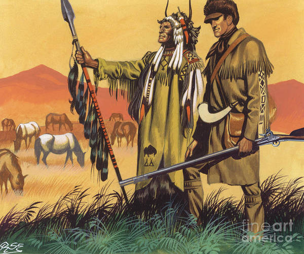 Wall Art - Painting - Lewis And Clark Expedition Scene by Ron Embleton