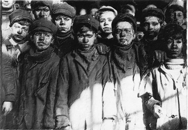 Painting - Lewis Hine Photographs Children Coal Miners by Tony Rubino