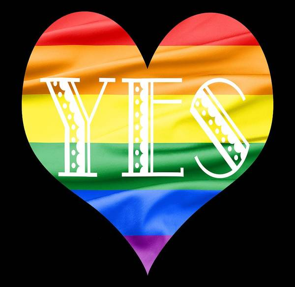 Gay Pride Flag Photograph - Lgbt Heart With A Big Fat Yes by Semmick Photo
