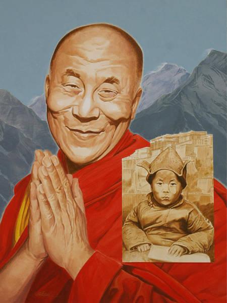 Dalai Lama Wall Art - Painting - Lhamo Thondup Becomes Kundun by Shawn Shea
