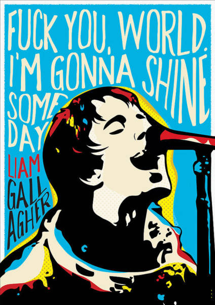 Manchester Digital Art - Liam Gallagher Quote Portrait by BONB Creative