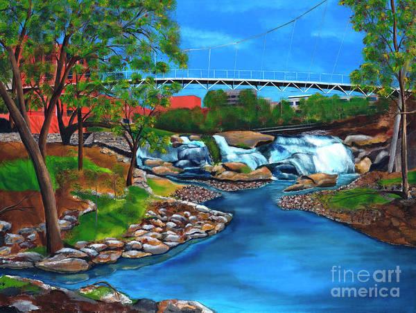 Wall Art - Painting - Liberty Bridge At Falls Park In Greenville, South Carolina by AWellsArtworks Fine Art