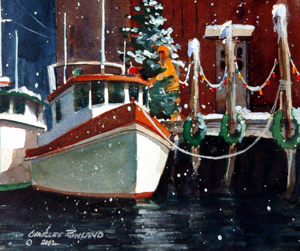 Painting - Liberty - Dockside Christmas II by Charles Rowland