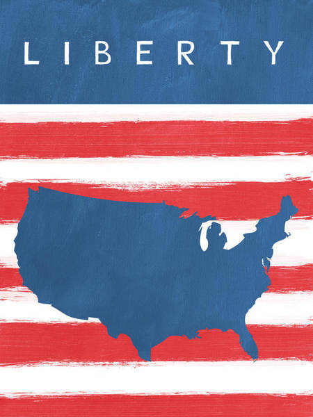 Flag Wall Art - Painting - Liberty by Linda Woods