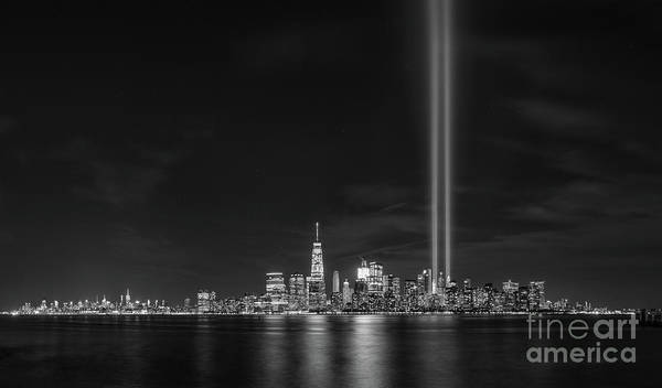September 11 Wall Art - Photograph - Liberty State Park Tribute In Light Bw by Michael Ver Sprill