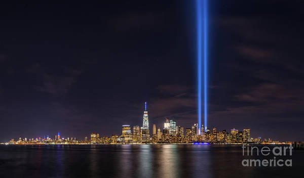 September 11 Wall Art - Photograph - Liberty State Park Tribute In Light by Michael Ver Sprill