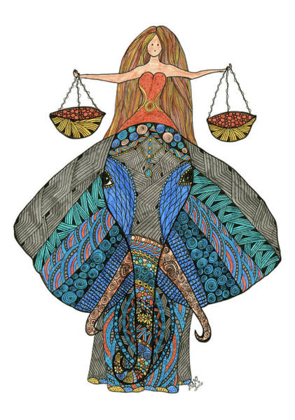 Drawing - Libra by Barbara McConoughey