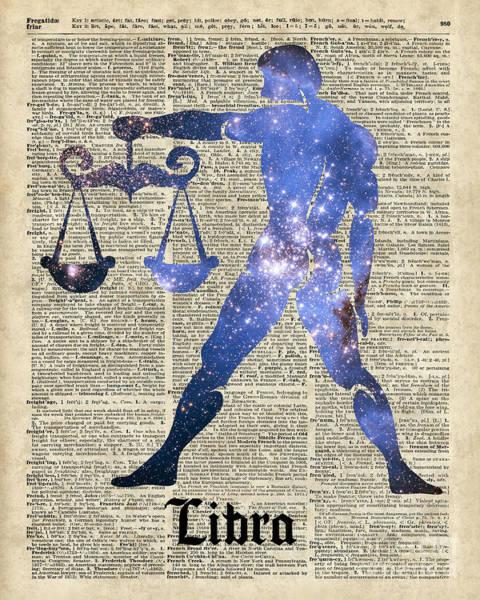 Wall Art - Digital Art - Libra Scales Zodiac Sign by Anna W