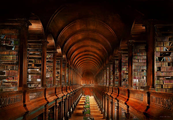 Photograph - Library - The Long Room 1885 by Mike Savad