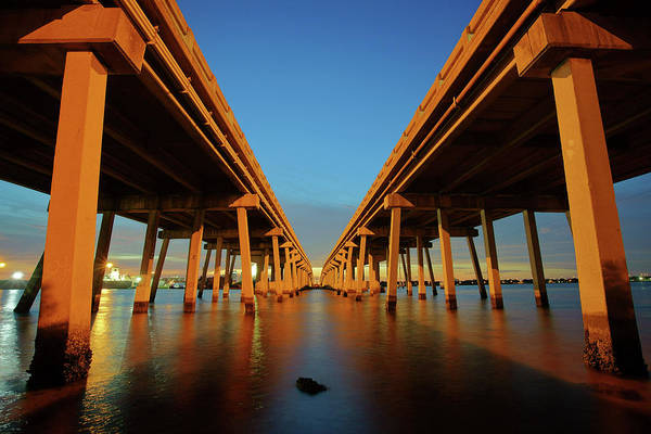 Port Of Tampa Wall Art - Photograph - Licata Bridges In Tampa by Daniel Woodrum