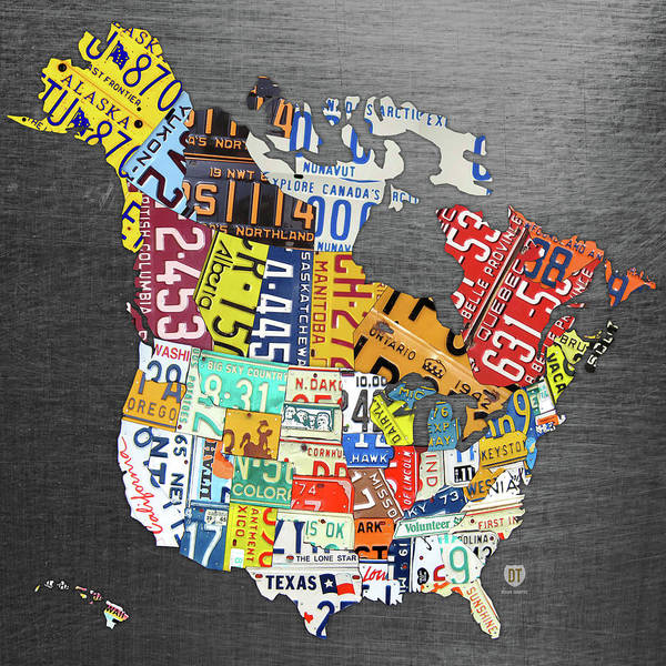 Wall Art - Mixed Media - License Plate Map Of North America Canada And The United States On Gray Metal by Design Turnpike