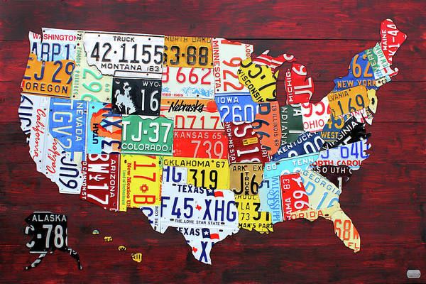 Custom Mixed Media - License Plate Map Of The United States Custom Edition 2017 by Design Turnpike