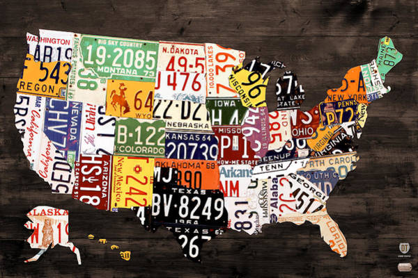 License Wall Art - Mixed Media - License Plate Map Of The United States - Warm Colors / Black Edition by Design Turnpike